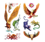 Tatuaje temporal del arte de la etiqueta engomada del tatuaje de la transferencia del agua del tatuaje de los animales