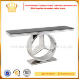 Tabella concentrare superiore di vetro di disegno moderno del quadrato della mobilia dell'acciaio inossidabile