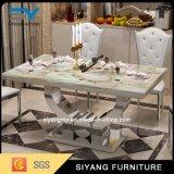 Mobilier de salle à manger moderne Table à manger en marbre en acier inoxydable