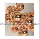 Máscara de cobre de Tom Dixon da réplica e lâmpada de vidro do pendente da esfera do espelho