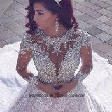Платье венчания 2017 M2889 кристаллов мантий шарика длинних втулок Bridal