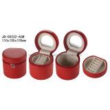 丸型の赤い革宝石類のギフト用の箱の宝石箱