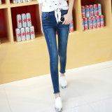 Lady&prime 2017; Calças de brim Stretchable lavadas do algodão do ajuste de S alta qualidade magro