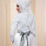Платье венчания Mermaid шнурка втулок муслина полное с вуалью