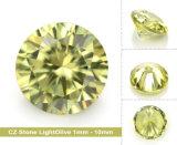 着色された石造りの軽いオリーブ色の緩いCZのジルコニアの石を緩めなさい