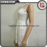 Конструкций платья шнурка ткани женщины фабрики высокого качества платье 2017 ворота рубашки шикарных белых сладостное безрукавный