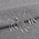 Серебряные мечт серьги улавливателя и комплект ювелирных изделий ожерелья