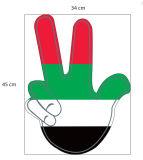 Mão da espuma de dois dedos V com bandeira nacional e logotipo