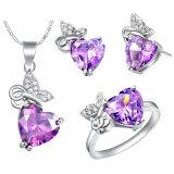 Ожерелья 3 чокеровщика серьги кольца бабочки диаманта Zircon способа ювелирные изделия PCS медного кристаллический установленные
