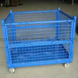 車輪が付いているスタック可能鋼線の網の容器を折る倉庫の記憶