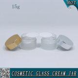 Gain de verre cosmétique givré de 15 ml 1/2 oz pour crème pour le visage avec couvercle métallique