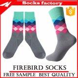 Kundenspezifischer Baumwollgroßverkauf-glückliche bunte Sockenmens-Kleid-Socken