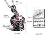 """赤い立方ジルコンの人のためのパンクの人のネックレスのステンレス鋼のゴシック様式頭骨の吊り下げ式のネックレスは24の""""鎖を放す"""