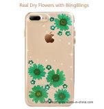 Caixa móvel do telefone de pilha de Bling do Glitter da flor seca real para o iPhone