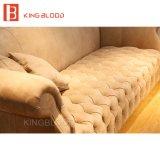 Muebles de cuero de color caqui del sofá de Nubuck Chesterfield de la sala de estar de lujo