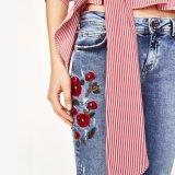 Pantalones delgados del bordado de la cintura media de la manera de las señoras