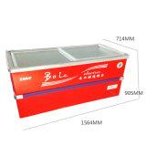 congelador profundo do console do gabinete da porta 426L deslizante com canto inoxidável