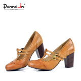 (Donna-в) классицистические ботинки женщин Mary Jane T-Планки Brogue кожи коровы