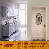 Конструкция двери ванной комнаты твердой древесины с матированным стеклом (GSP3-041)
