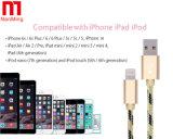 Câble de remplissage de chargeur certifié par Mfi tissé par nylon du tissu 8pin USB de synchro pour l'iPhone