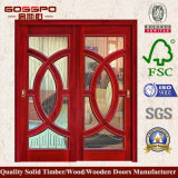 Portello scorrevole di vetro di lusso del blocco per grafici di legno di disegno (GSP3-019)