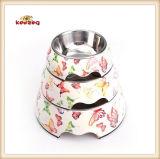 Bouillon de nourriture pour chien-chien de mélamine et en acier inoxydable à motif papillon (KE0010)