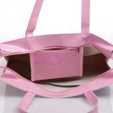 노란 방수 PVC 부 Shopwindow 패턴 어깨에 매는 가방 핸드백 (H032-2)