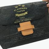 Bolso material lavado negro de Crossbody del papel de Kraft (16A087)