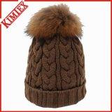 Chapéus de pele de pele quente POM POM Beanie