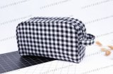 Plaid PU e Calico com Inner Bag Hotel Portable Cosmetic