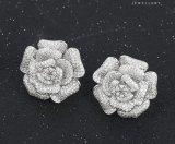 Inrhodium-Покрынная серьга цветка Zircon ювелирных изделий венчания 28420 способов роскошная