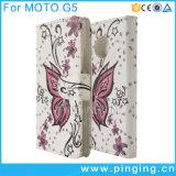 Moto G5/G5のための印刷された蝶札入れの革フリップ箱と