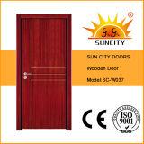 Portes de chambre à coucher de pièce de la Chine, portes en bois pleines (SC-W037)