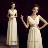 Платья Bridesmaid V-Шеи Двойн-Плеча шифоновые твердые просто длинние