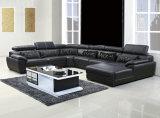 Uの形の黒カラー本革のソファー(301)