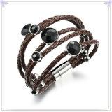 方法宝石類のステンレス鋼の宝石類の革ブレスレット(LB483)