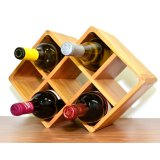 Custom Widsom Antique Bamboo 7 Bottle Wine Rack Wood Rack for Home Storage