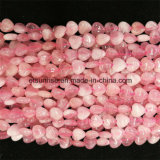 Estilo semi-precioso da forma Natural Crystal Rose Quartz Hearted Bead