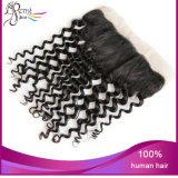 Fechamento peruano não processado do Frontal do laço da onda do corpo do cabelo de 100%