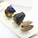 De Europese en Amerikaanse Geometrische Retro Vastgestelde Juwelen van de Ring van de Legering van de Ringen van het Paar Turkooise Beslagen