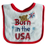 Custom Made Cartoon Logo coton brodé Terry Red Customzied Bavette pour fille promotionnelle