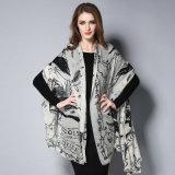 デジタル印刷の白黒ウールのスカーフ