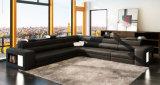 Sofá de couro alaranjado da sala de visitas Home com luz do diodo emissor de luz (HC1054)