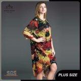 Impression florale abstraite de ventes en gros plus la robe de taille