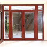 Portello francese del doppio di vetro Tempered di Woodwin della rottura portello di alluminio termico della stoffa per tendine