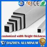 양극 처리된 은 알루미늄 합금 사각 직사각형 관 알루미늄 밀어남 단면도