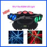 LED de luz de la araña 9PCS * 10W RGBW luz principal móvil