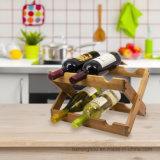 Sostenedor de botella plegable de madera de vino de la visualización de la encimera