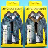 Fones de ouvido do Zipper do telefone móvel dos auriculares do microfone da em-Orelha