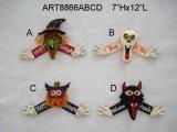 """7 """" Hx12 """" L decorazione del Figurine di Halloween con Sign-4asst."""